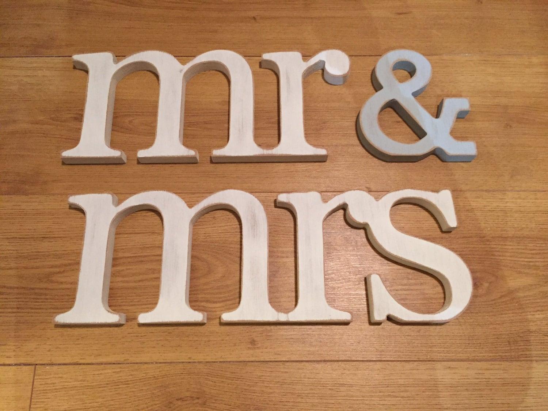 Wooden Wedding Letters Mr & Mrs Lower-case Joined 15cm