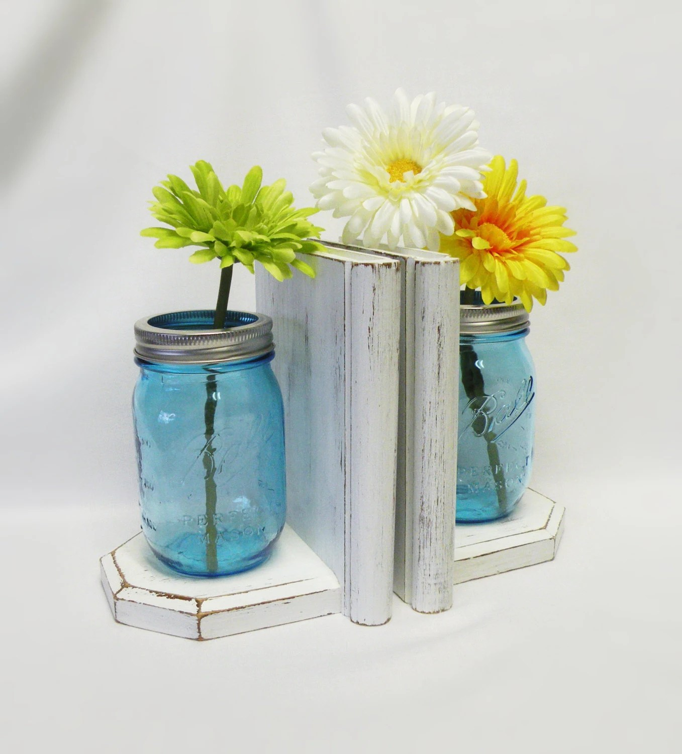Mason Jar Vases and Bookends Turquoise Jars Wood Bookends