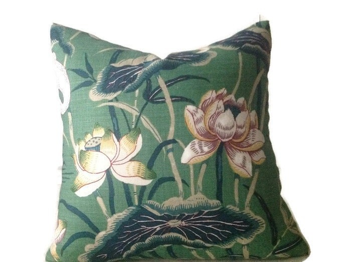 Schumacher Pillow Jade Lotus Garden Decorative Pillow Green