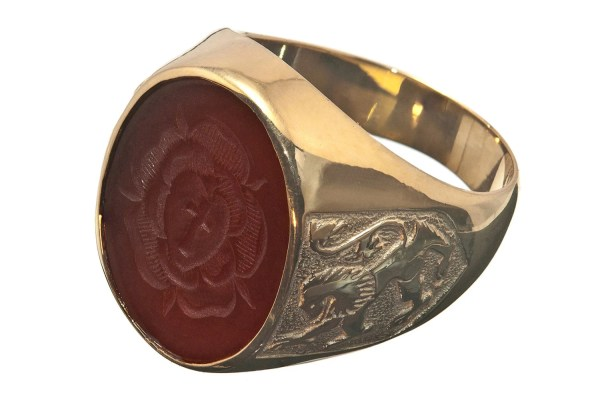Rosicrucian Ring Special Red Agate Hand Engraved Gold Plated