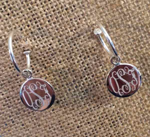 Sterling Silver Monogrammed Hoop Earrings
