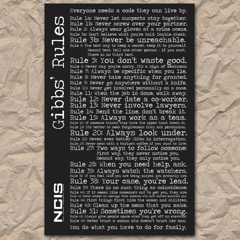 graphic about Ncis Gibbs Rules Printable List called Printable Tips Listing - Studying Mars