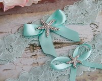 Beach Wedding Garter Set Something Blue Bridal Garter Set