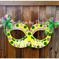 Mardi Gras Mask Wooden Door Hanger Door Sign Door