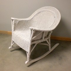 Wicker Rocking Chairs Wing For Living Room Antique Vtg White Rope Rocker Resembles Chair