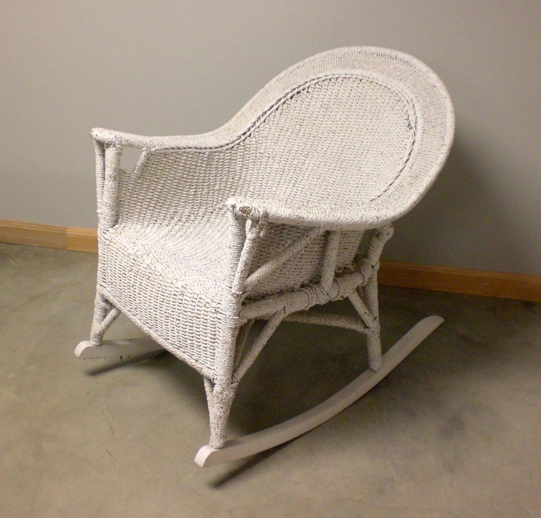 White Wicker Rocking Chair Antique Vtg White Rope Wicker Rocker Resembles Rocking Chair