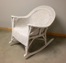 Antique Vtg White Rope Wicker Rocker Resembles Rocking Chair