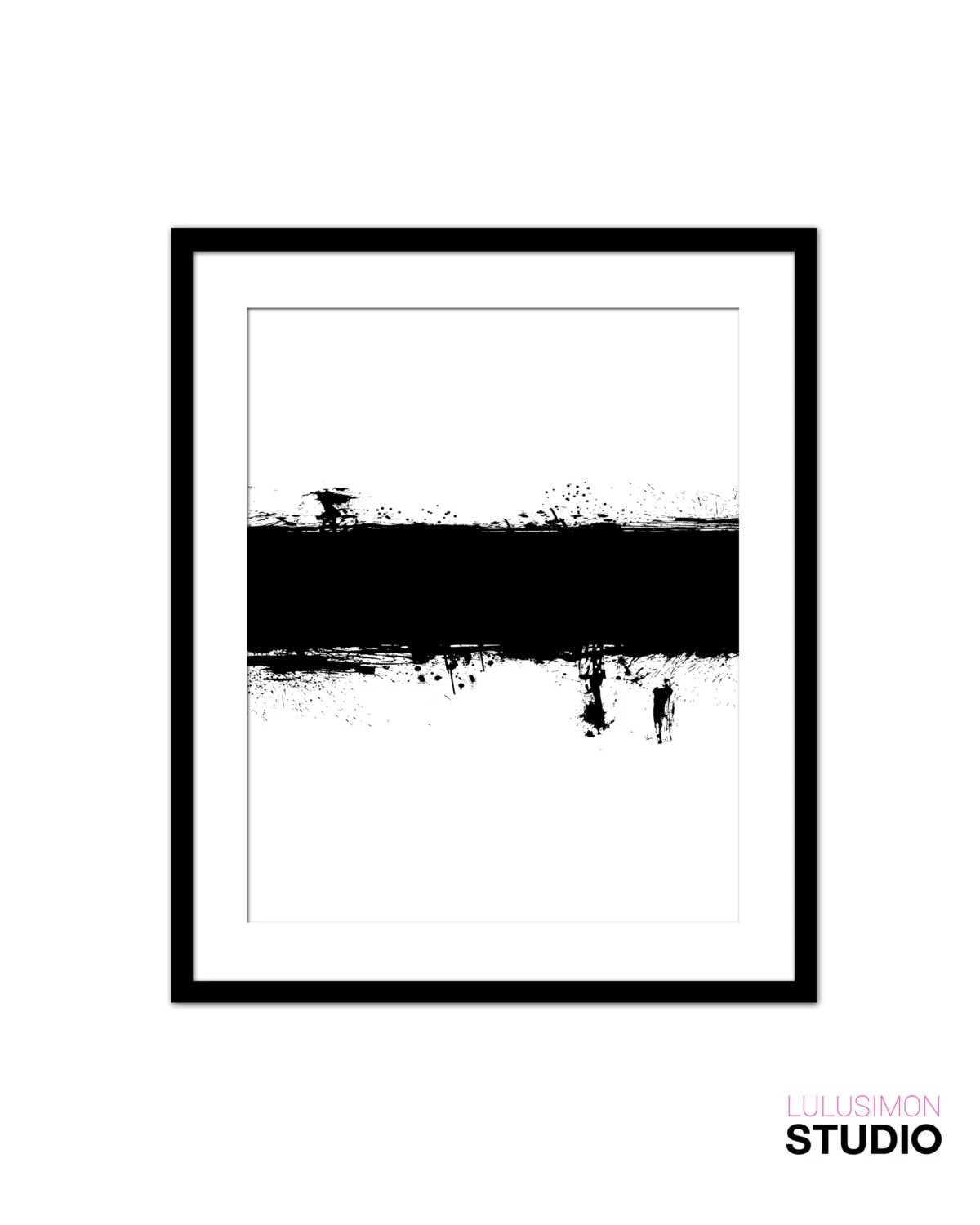 Items similar to Black With Silver Paint Stroke Pattern