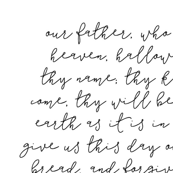 our father prayer printable scripture print lords prayer