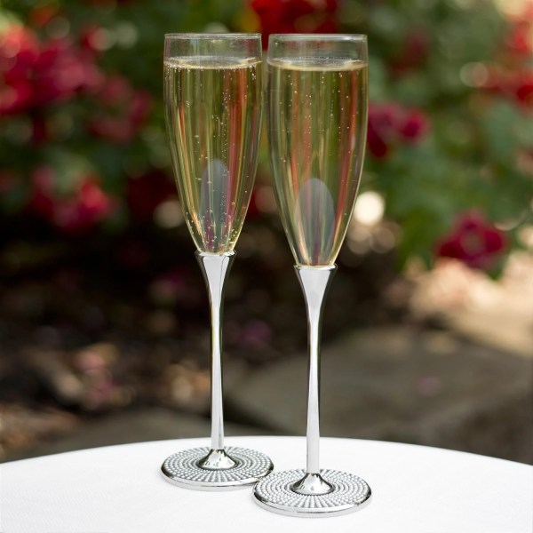 Pearl Champagne Flutes Personalized Wedding