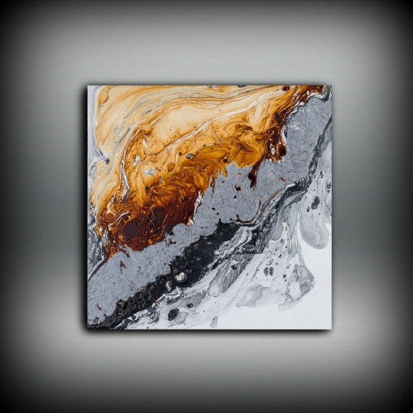 Original Painting Art Oil Abstract Black White Copper Wall Hanging