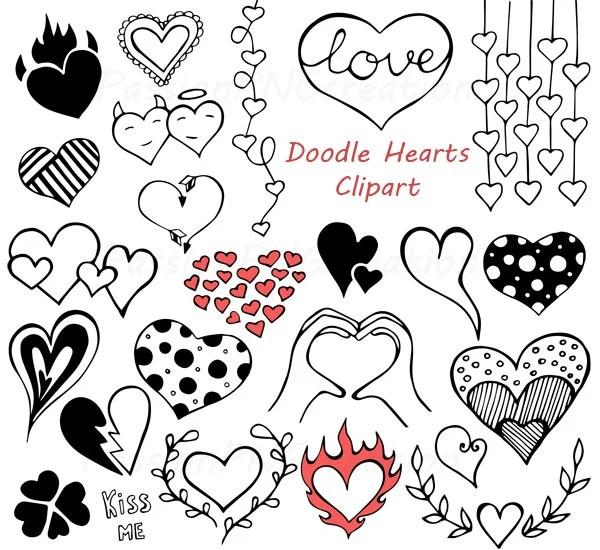 Doodle Hearts Clipart, Heart clip art, Digital hearts clip