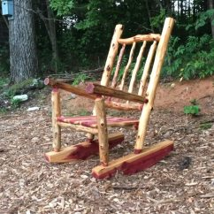 Rustic Outdoor Chairs High Back Wooden Dining Room Cedar Log Rocking Chair Front Porch Rocker