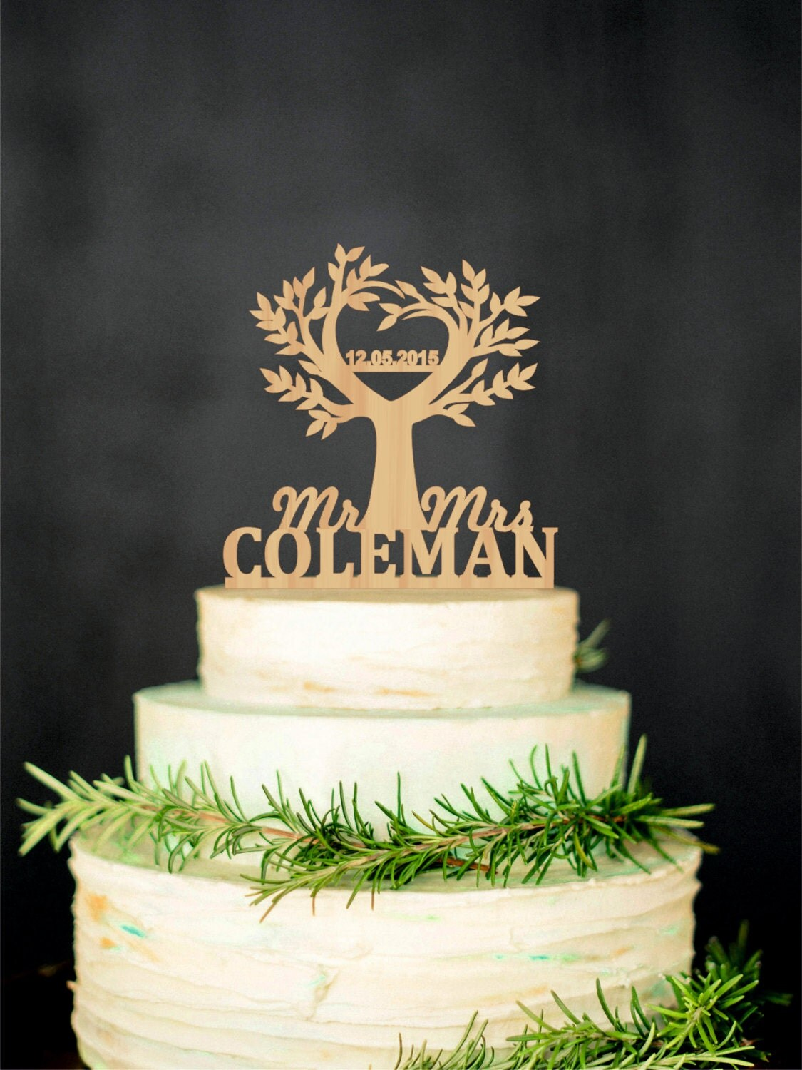 Tree Cake Topper Wedding Rustic Cake Topper By Weddingrusticdeco