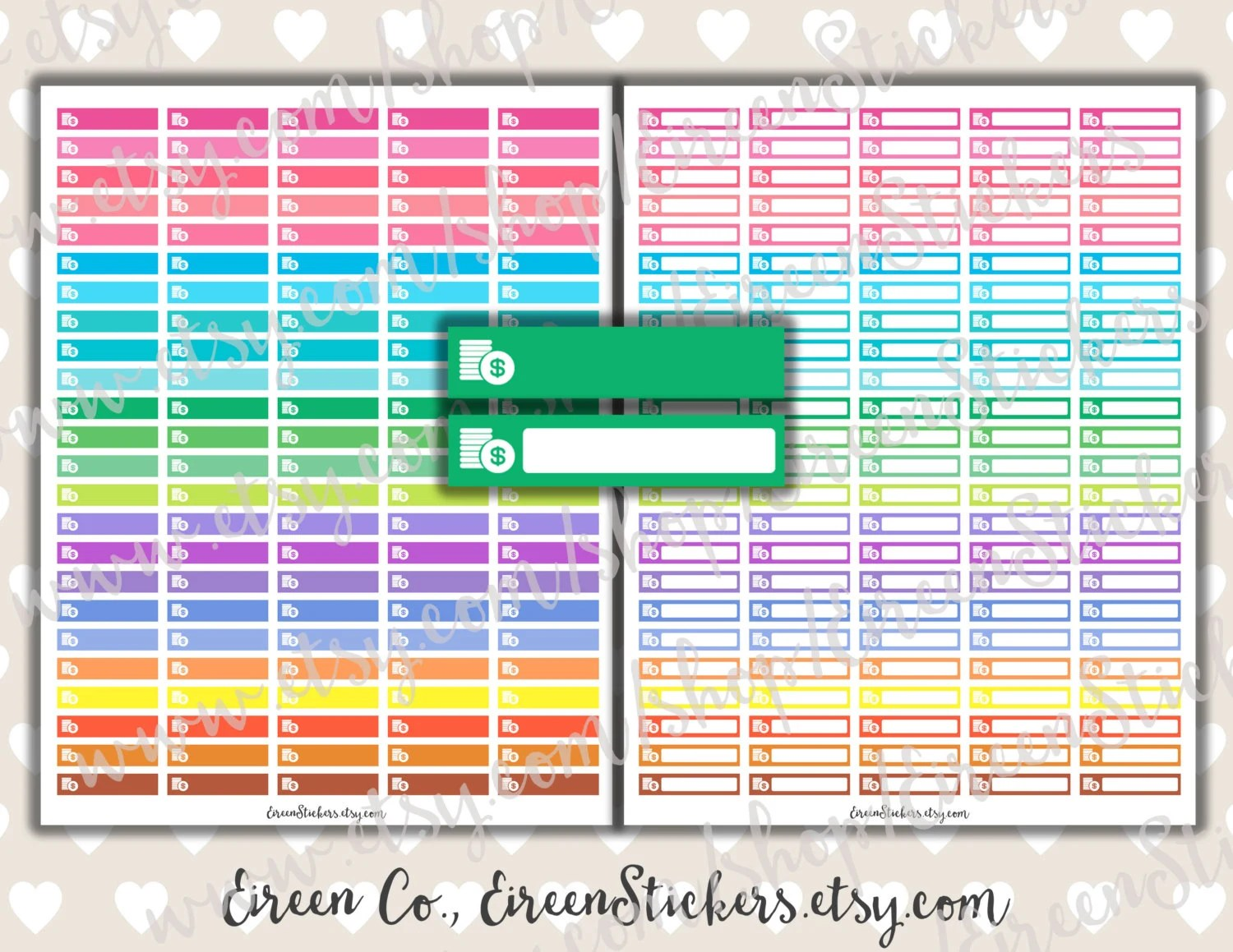 Bill Labels Dollar Sign Money Bright Rainbow Erin Condren