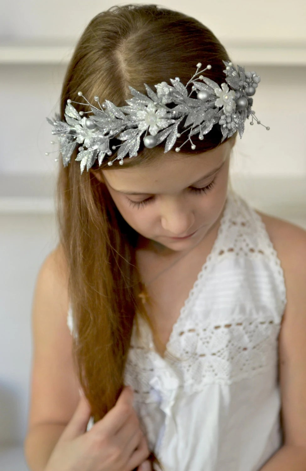 Ice Queen Crown Christmas Hair Wreath Medieval Headpiece