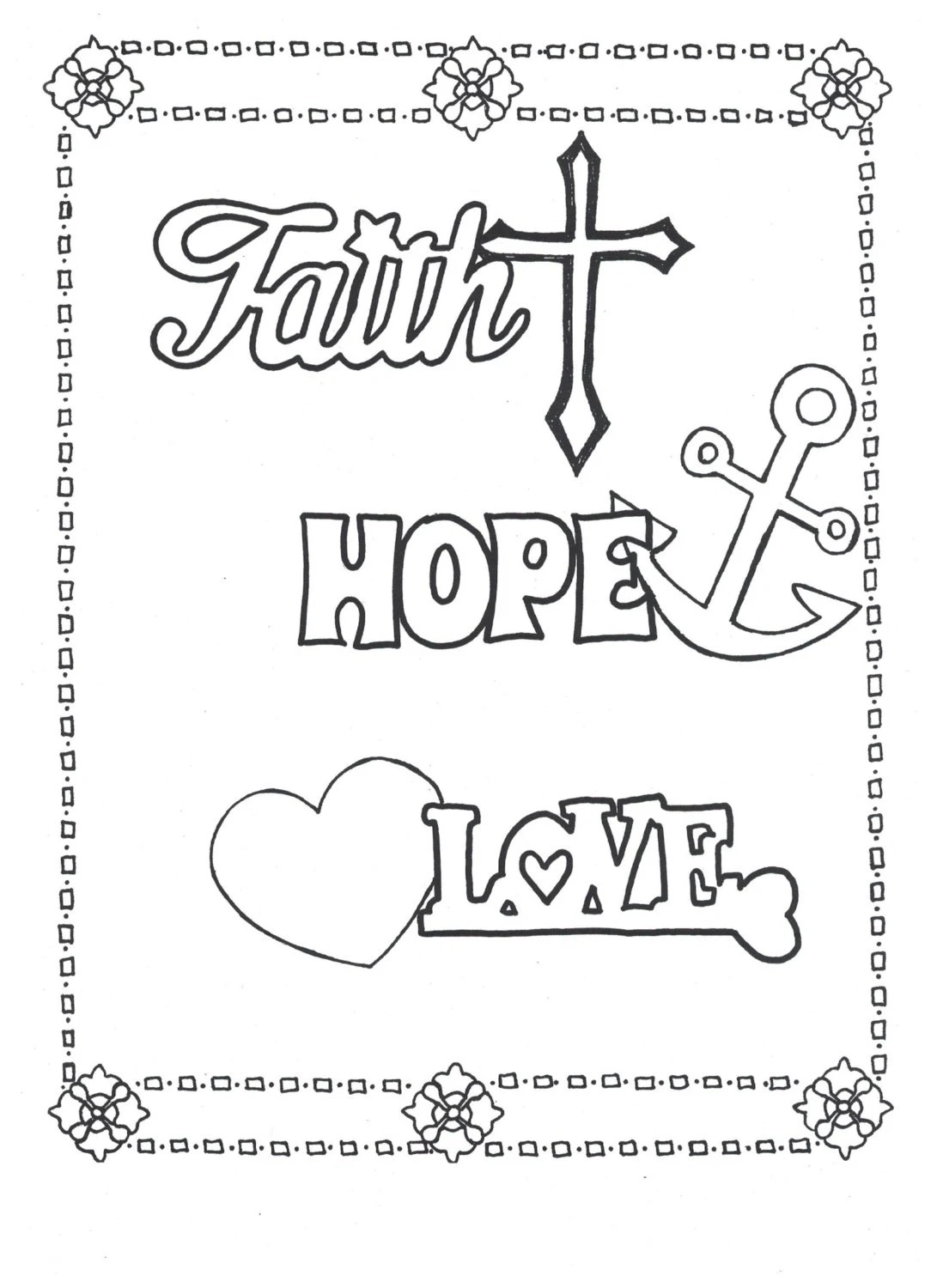 Faith Hope Love Coloring Page