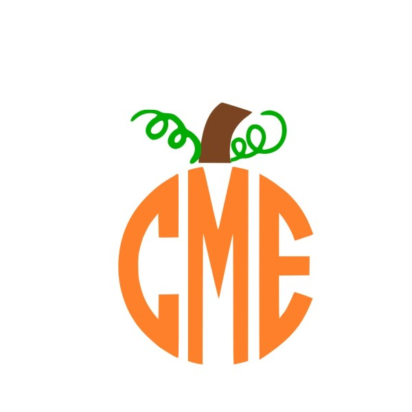 Pumpkin Stem Monogram Svg Instant Design Cricut
