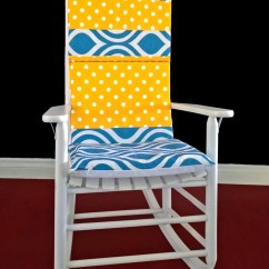 Rocking Chair Cushion Covers Black And White Striped Dining On Sale Cover Blue Emily Yellow Polka