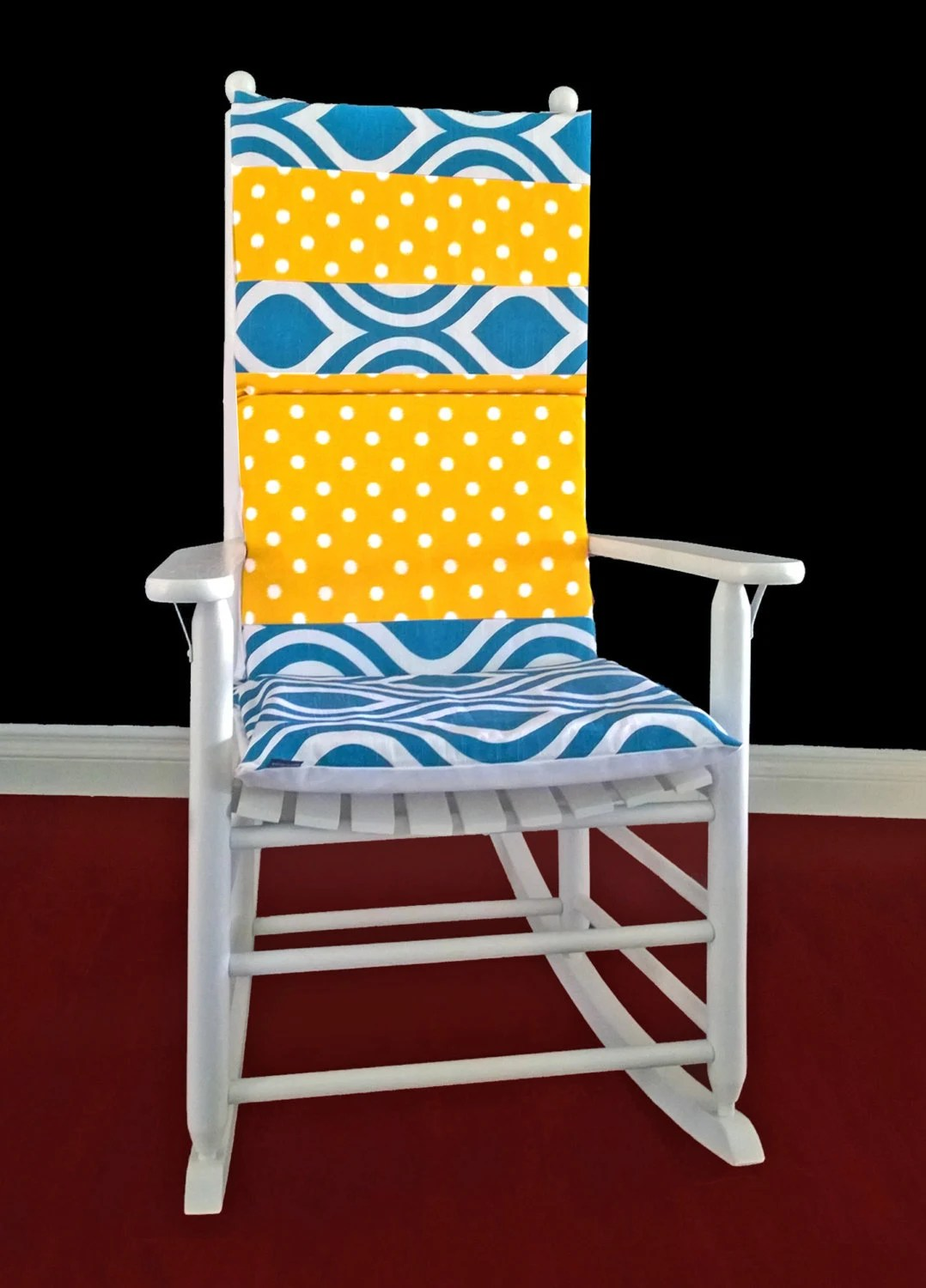polka dot rocking chair cushions beach chairs at cvs on sale cushion cover blue emily yellow