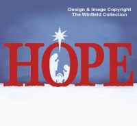 Hope Sign with Nativity Scene Large Wood by ChartinisYardArt