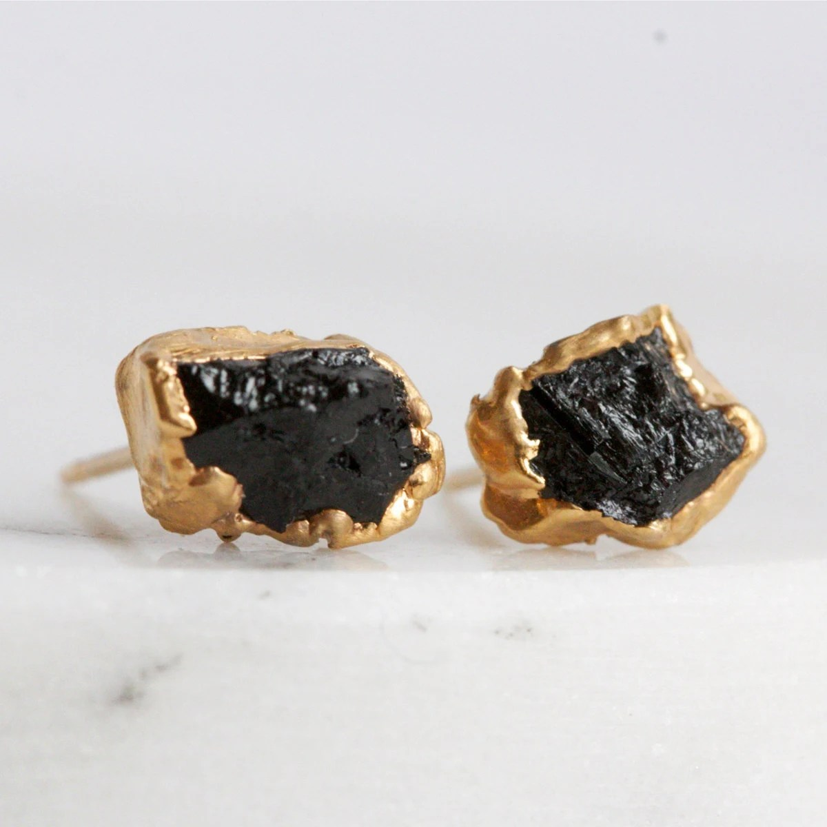 tourmaline earrings / black tourmaline / mineral by