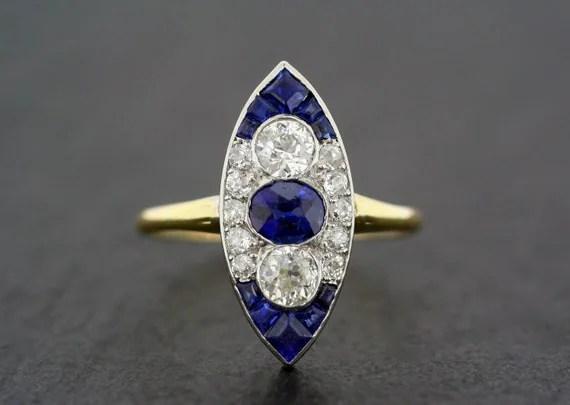 Art Deco Engagement Ring Antique Art Deco Sapphire  Diamond