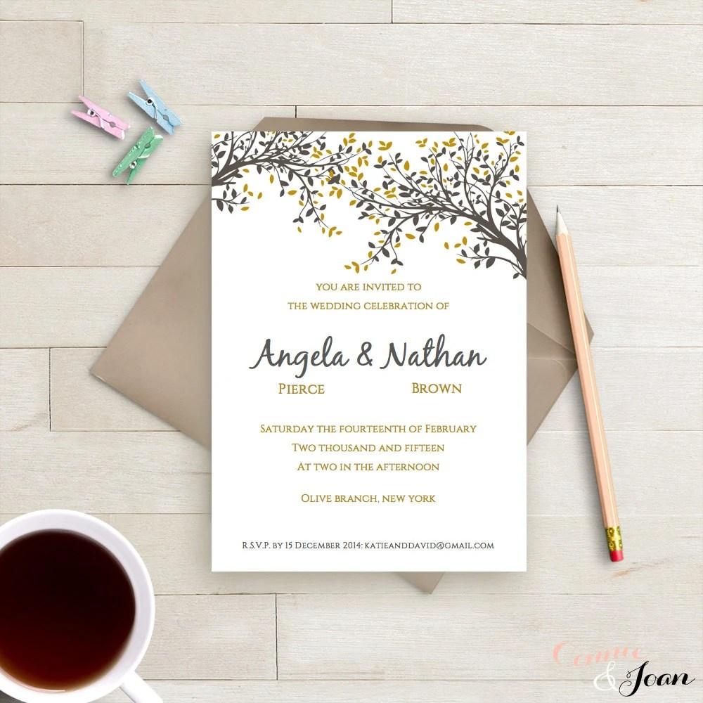 DIY Printable Wedding Invitation Template Black Gold Leaves