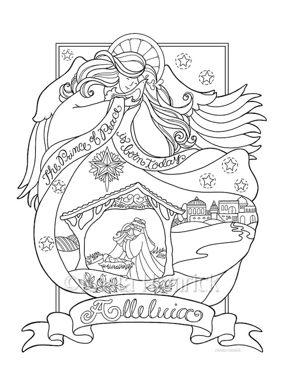 Angel Nativity coloring page in three sizes: 8.5X11 8X10