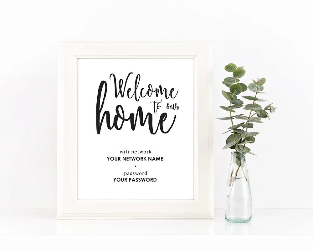 Black and White Welcome To Our Home Wifi Password Printable