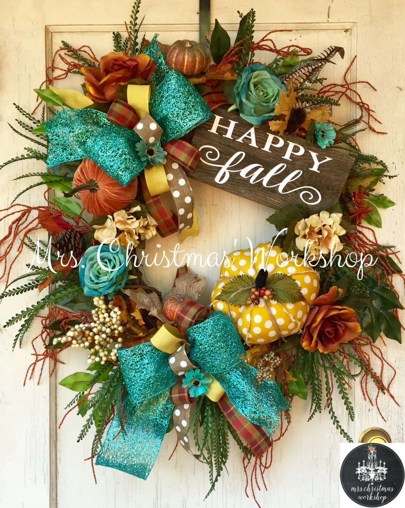 fall wreath turquoise fall wreath grapevine wreath pumpkin