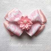 light pink damask flower hair bow