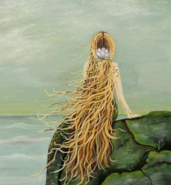 Mermaid Wall Art Acrylic Painting Beach Cottage Decor Fine
