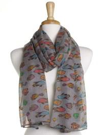 Grey Tropical Fish Scarf / Oversized Shawl / Ladies Womens