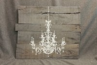 Gray Pallet Wall Art Chandelier Reclaimed Distressed hand