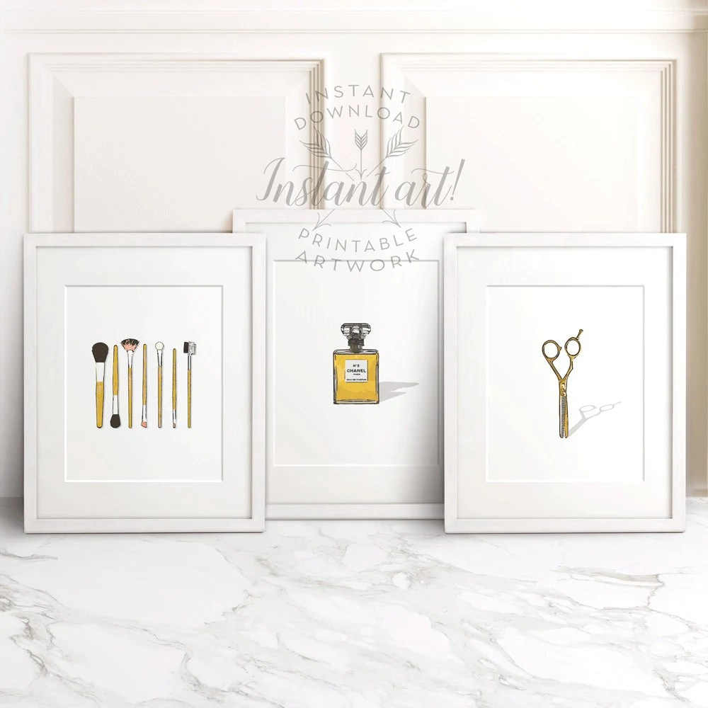 Bathroom wall decor PRINTABLE set of 3 makeup brusheschanel
