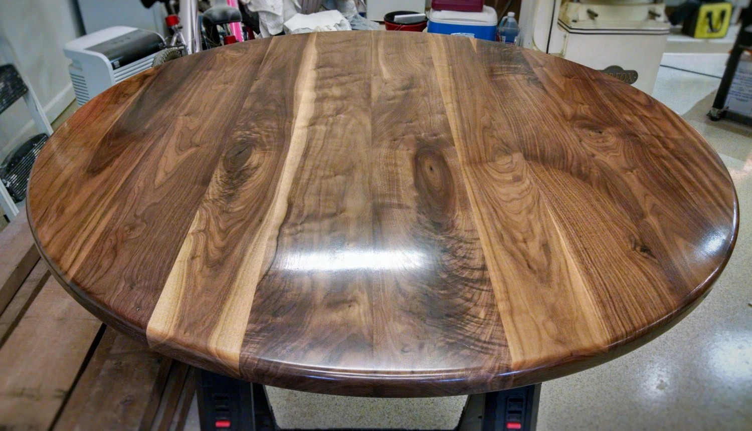 black walnut kitchen table counter height island round top solid wood breakfast