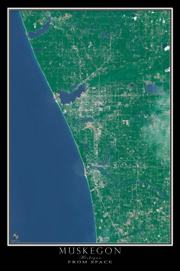 Muskegon Michigan Satellite Poster Map by TerraPrints on Etsy