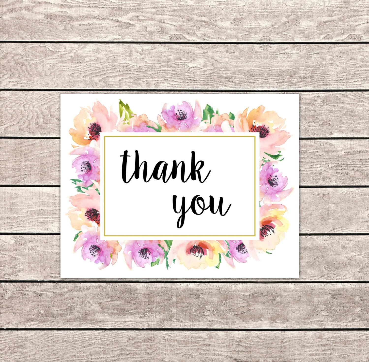 Printable Thank You Cards Instant Download Folded Cards