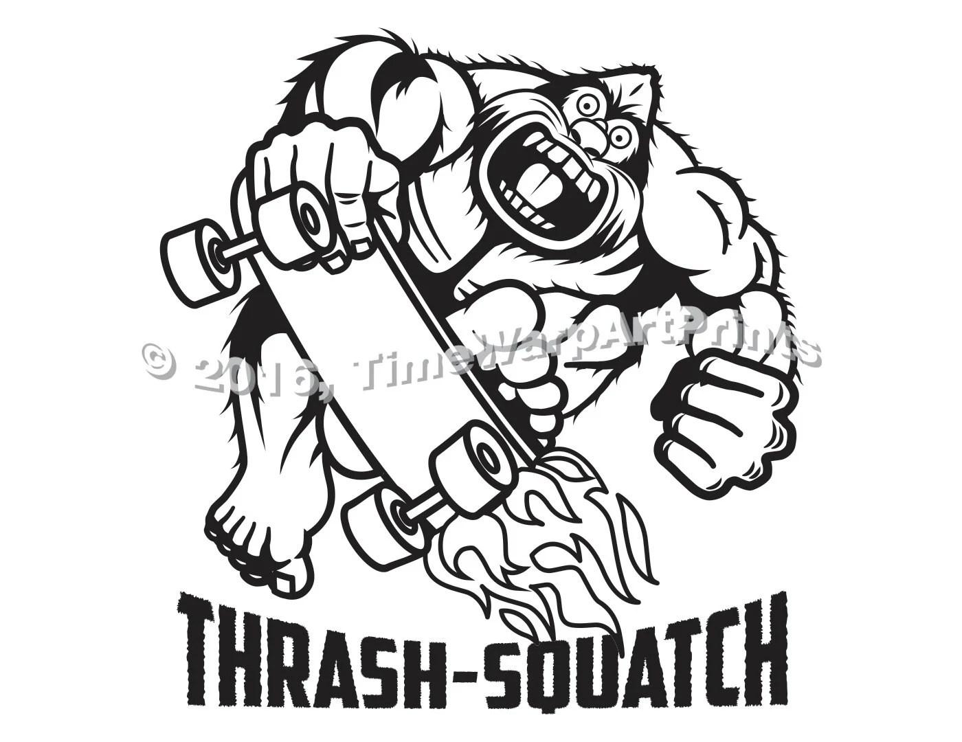 Thrash Squatch Skateboarding Bigfoot Sasquatch Graphic