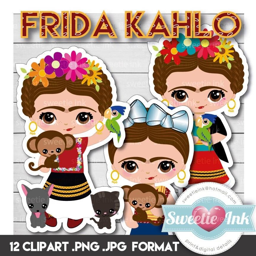 Cartoon Girl Live Wallpaper Icon Frida Kahlo Kawaii Clipart Girl From Sweetieink On Etsy Studio