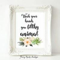 Wash Your Hands printable bathroom art funny wall artyou