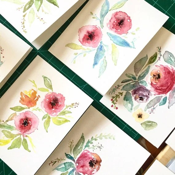 Hand Made Watercolor Cards | Greeting Cards | Thank You Cards | Hand Made Stationary | 5 x 7