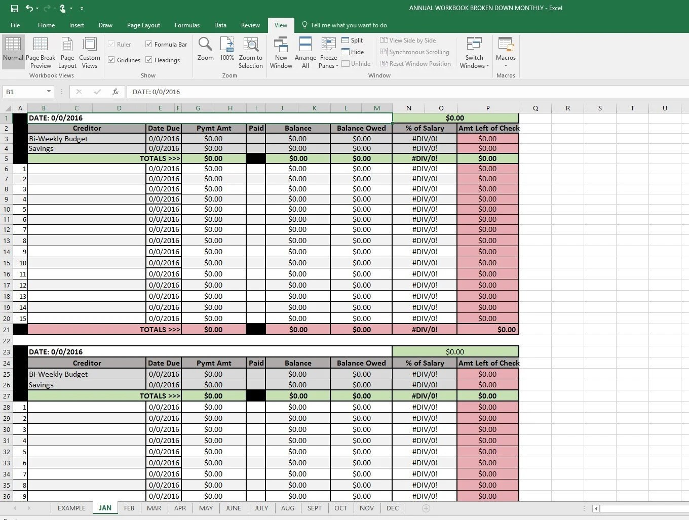 12 Month Budget Plan Spreadsheet With Click Instruction