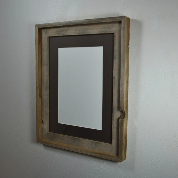 Primitive Barnwood Frame 12x16 With Charcoal Mat