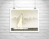 Soft spring sunshine: Sailboat Art, Sailing Print, Nautical Art, Boat Photography, Sailboat Picture, Pale Yellow, Sea, Block Island, Ocean, Boats, Ships