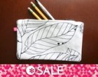 SALE White Leaf Small Zip Pencil Pouch Bag with Orange Lining