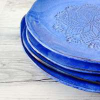 Blue Dinnerware set Handmade Ceramic Dinnerware Rustic