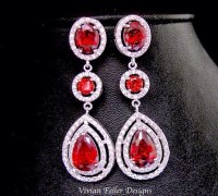 Wedding Earrings RED BRIDAL EARRINGS Lux Prom Pageant
