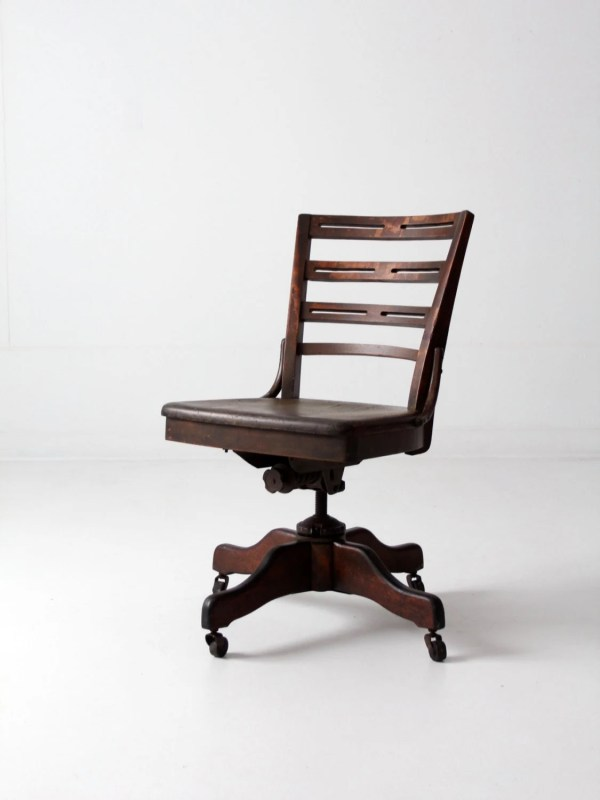 Antique Wood Office Chair with Casters
